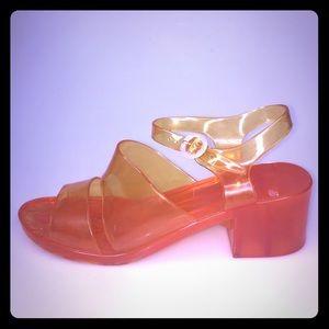 American Apparel Jelly Sandals Heels Sz 10 Orange